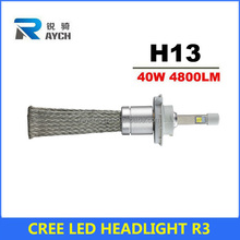 High quality 2pcs/lot H13 12V 40W water proved car headlight R3 LED lamp aviation aluminum+fanless heat dissipation focusing