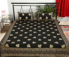 Gold Leaf Print Bed Sheet Handmade Wedding Designer Bed Cover