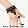 2015 Guangdong fashion black brighton bracelet , bead bangles with ring attached lace chain bracelet