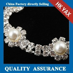 T0527 High end customized pearl rhinestone trimming,fashion trimming pearl rhinestones,pearl trimming rhinestones wholesale