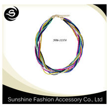 Colorful beads chain necklace,multiple chain entanglement,exaggerated and fashion