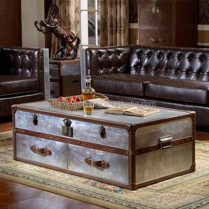 Ordinaire X019 Leather Trunk Coffee Table Antique Trunk Aluminum Trunk Box