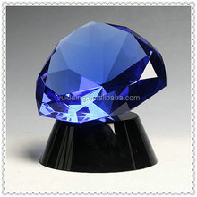 Modern Blue Crystal Diamond Stone With Base For Table Decoration