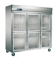 6 glass door kitchen refrigerated display fridge