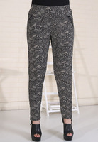 Wholesale Autumn And Winter Middle-Aged Four Pocket Pants Plus Thick Velvet Leggings Blue And White Flower Pants 9688