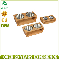 wholesale new design stainless dog bowl with wood shelf