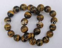Wholesale gemstone tiger eye round beads bracelet