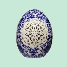 2015 Custom Blue and White Egg shaped handmade carving ceramic tiles