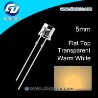 2015 hot sale flat top prices warm white 5mm led diode