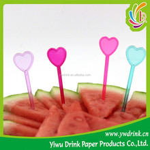 Colorful Heart Shaped Decoration Plastic Fruit Fork