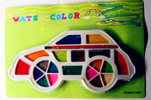 car shaped semi dry 24color watercolor set,2014 art paint