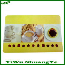Hearty Food Printed Plastic Placemat, Colorful PP Table Mats for Dinner