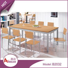 Dining room furniture custom size and color MDF Wooden furniture set/melamine dinning table with 8 chairs
