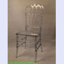 Crystal clear plastic PC resin stacking royal chair for sale wedding