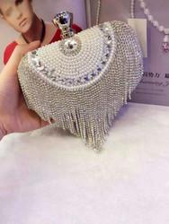 New Arrival Tassel Rhinestones Clutch Women Evening Bags Beaded Luxury Ladies Handbags Pearl Vintage Evening Bag