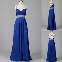 2015 Sexy Transparent Waist Rhinestone Chain Chiffon Evening Prom Dress
