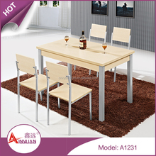 Wholesale foshan dining room furniture metal legs thick wood slab 4 seater dining table and chair