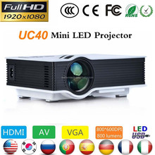 2015 Newest UC40 led lcd 1080p Full HD Projector Mini Pico Projector AV USB SD HDMI Proyector Home theater Beamer