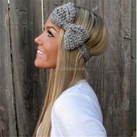 Grey Marble Bow Headband With Natural Vegan Coconut Shell Buttons