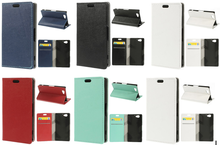 For Sony Xperia A2 Lychee Texture 2 Card Slots PU Leather Stand Case - Black
