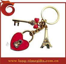Lovers heart key chain