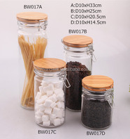 glass jar with wooden clip top