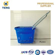 Shopping Basket with Wheels Plastic Handle Laundry Basket