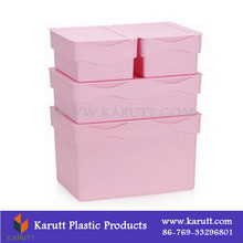 High quality colorful plastic organizing box with lid for clothes quilt toys snacks storage
