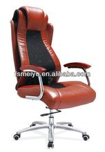 High back with leather&mesh cover swivel office executive chair with wooden pad arms or PP arms- 525A