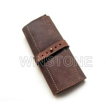 Brown Real Leather Roll up Pencil Case for Personalized