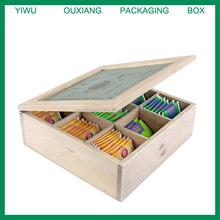 Pine wood Tea Chest 9 Compartment