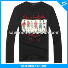 Customzie Plain Black Long Sleeve Tshirt Wholesale Slim Fit