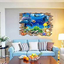 Huge 3D Shark Wall Sticker Window Kids Boys Room Removable See Fish Art Decal