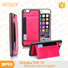 New design PC TPU PU moblile phone case, mobile phone back cover, with card slot phone holder