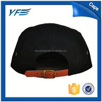 /High Quality Bank 5 Panel Cap//Baseball Caps For Sale/5 panel leather strap back hats with metal buckle