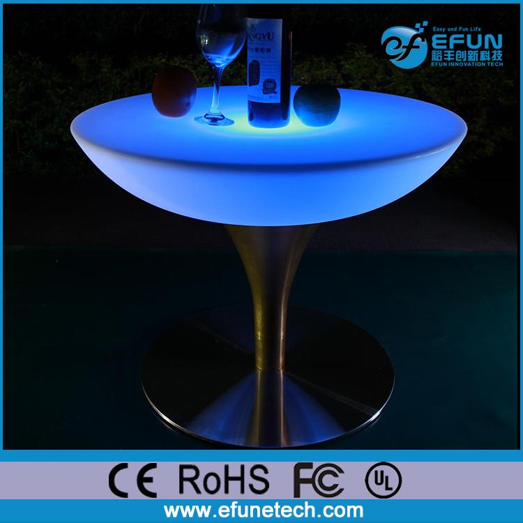 プラスチック材料rgbカラーイルミネーションバーテーブル、noを折るled発光カクテルテーブル