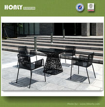 Modern outdoor dining table set rattan metal dining table set
