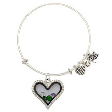Vnistar Alex and Ani Heart floating charm locket bracelets and bangles for big wrist