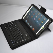 Bulit-in lithium polymer battery wiredrawing leather case mini removable bluetooth keyboard