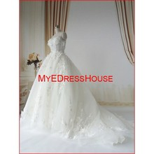 MEW1504 Royal High Quality Sweet Heart Layer of AppliqueTulle Long Train Bride Wedding Dresses 2015 FW By Myedresshouse