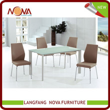 Modern design the tempered glass white dining room furniture of dining table