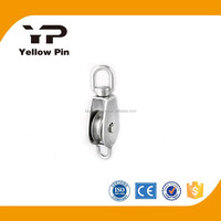 Stainless steel swivel eye wire rope pulley wheel with Becket eye with safety latch single sheave made in china