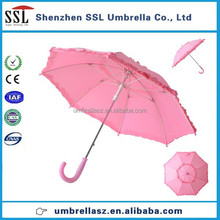 Pretty princess pink kids umbrella with flower lace
