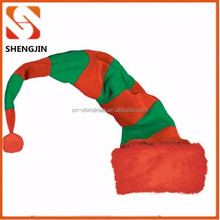 Adult Long Green and red color striped Elf felt christmas hat
