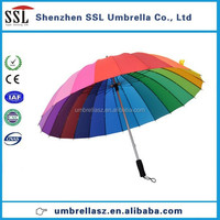 Top quality 25 inches 24K straight rainbow umbrella travel umbrella