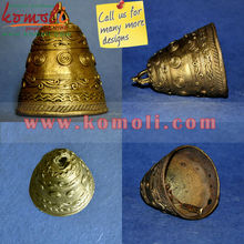 Bronze Alloy Bell Metal - Handmade Lost Wax Casting Antique Looking Bells - Dhokra Hanging Bell (Small - 3 Inches)