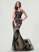 S462 Charming Scoop Appliqued Sleeveless Sheath Floor-length Chiffon African Evening Dresses