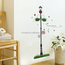 New Free Shipping Popular Street Lamp Flowers Clusters Road Signs Wall Sticker Wall Mural Home Decor Room Kids XY8057