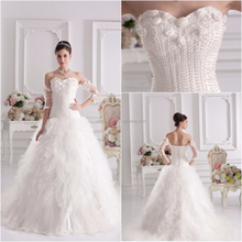 Real Sample Pearls detachable lace sleeves for wedding dress china custom made wedding dress XYY07-269