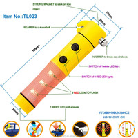 Multifunction Portable Beacon Car Emergency Safety Hammer with Seat belt Cutter